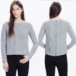 Madewell Palisades Large Back Zip Gray Sweater